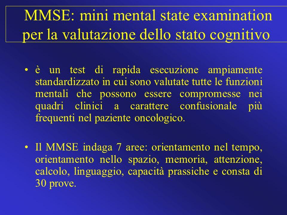 MMSE: mini mental state examination per la valutazione dello stato cognitivo