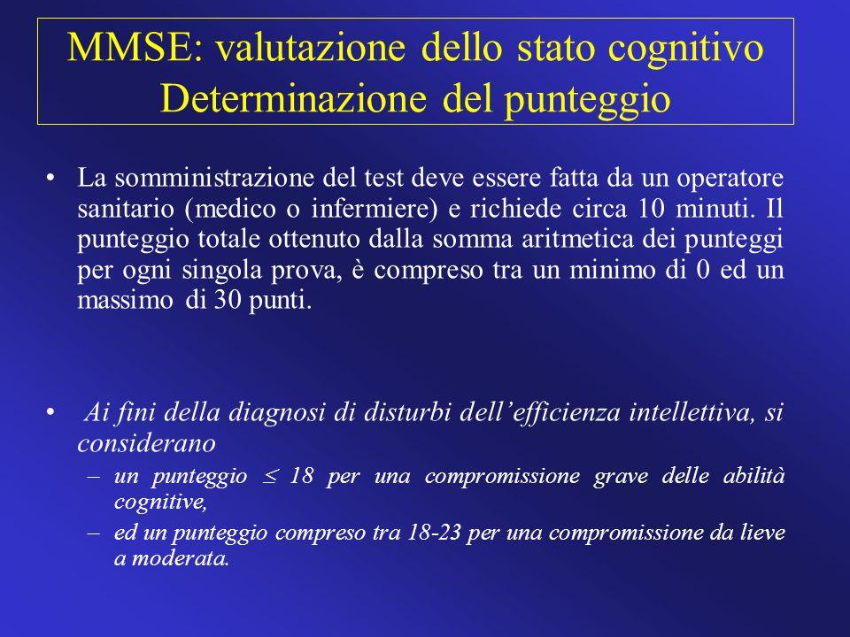 MMSE: valutazione dello stato cognitivo Determinazione del punteggio
