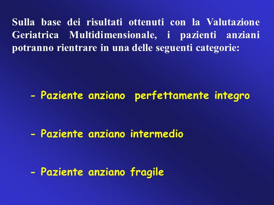 Sulla base dei risultati ottenuti con la Valutazione Geriatrica Multidimensionale, i pazienti anziani potranno rientrare in una delle seguenti categorie: