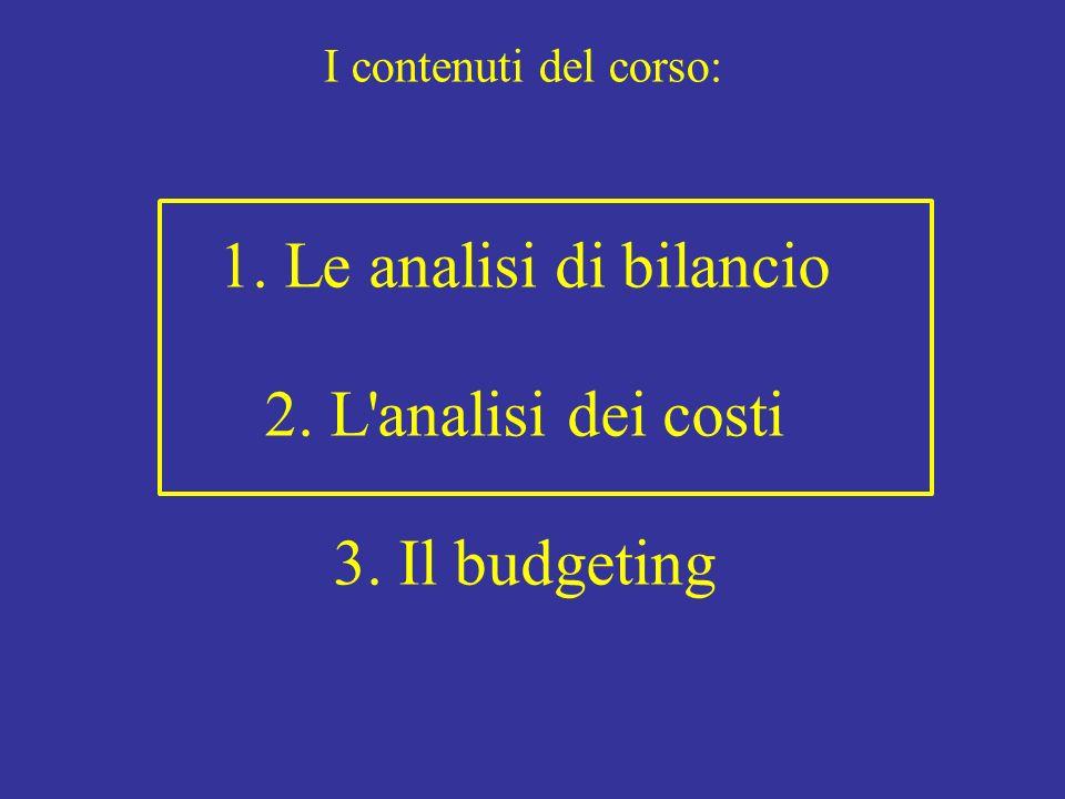 1. Le analisi di bilancio 2. L analisi dei costi 3. Il budgeting