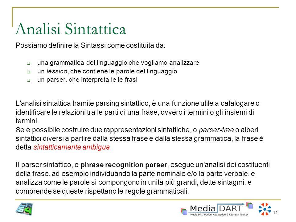 Analisi Sintattica Possiamo definire la Sintassi come costituita da: