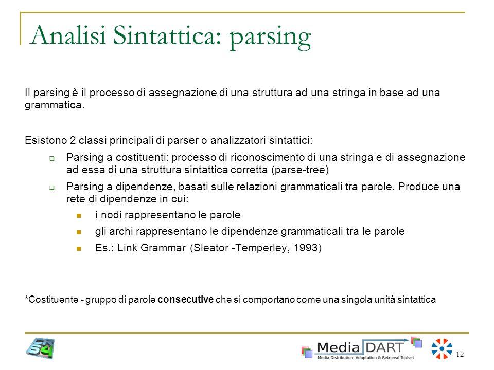 Analisi Sintattica: parsing