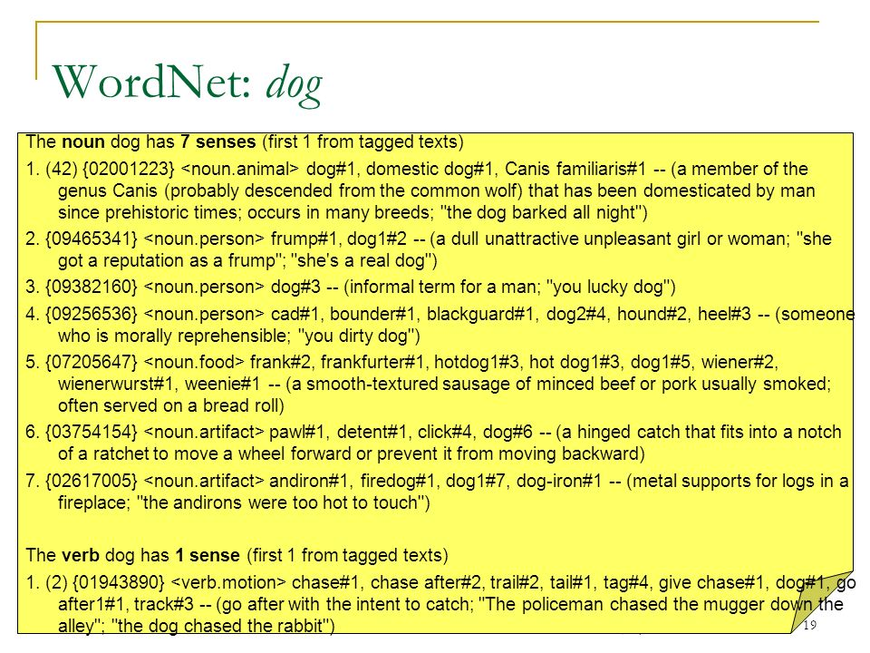 WordNet: dog The noun dog has 7 senses (first 1 from tagged texts)