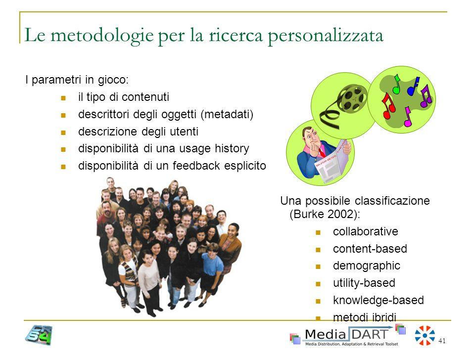Le metodologie per la ricerca personalizzata