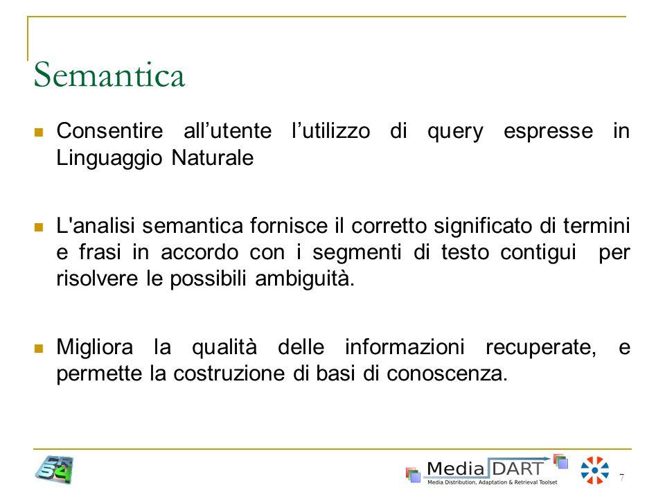 Semantica Consentire all'utente l'utilizzo di query espresse in Linguaggio Naturale.