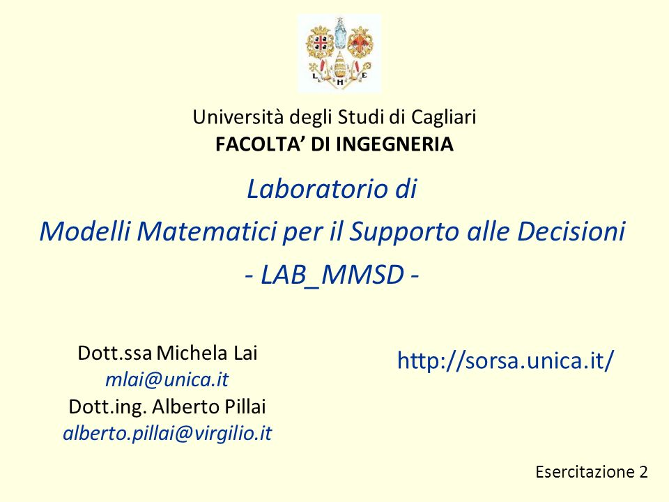 Università degli Studi di Cagliari FACOLTA' DI INGEGNERIA