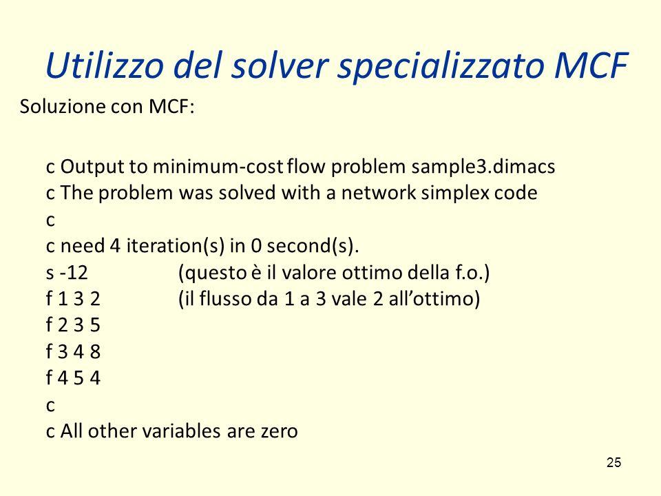 Utilizzo del solver specializzato MCF