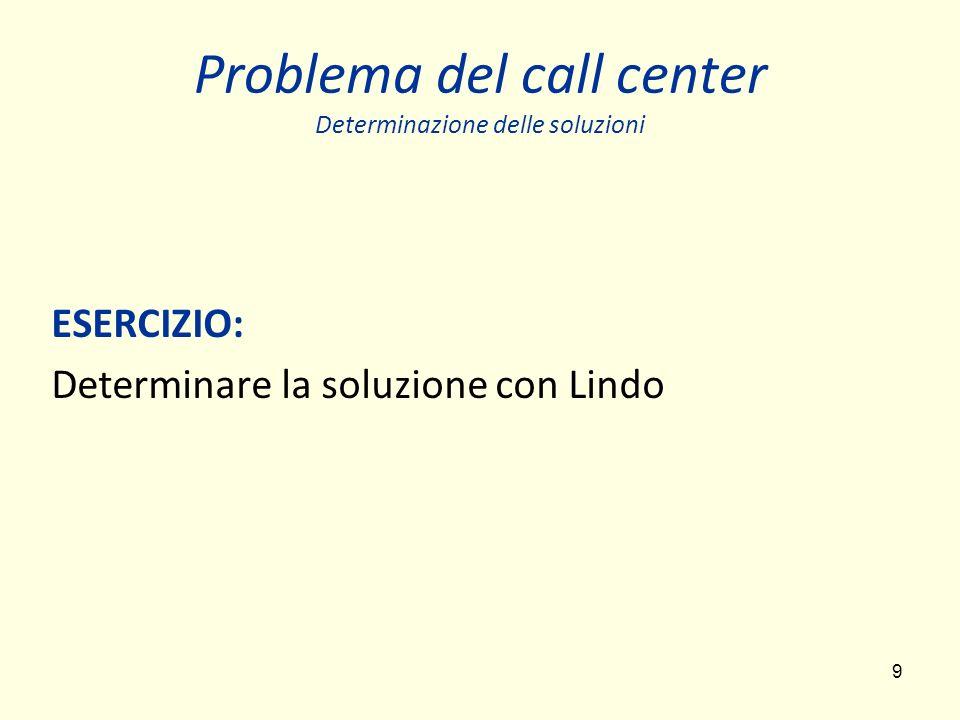 Problema del call center Determinazione delle soluzioni