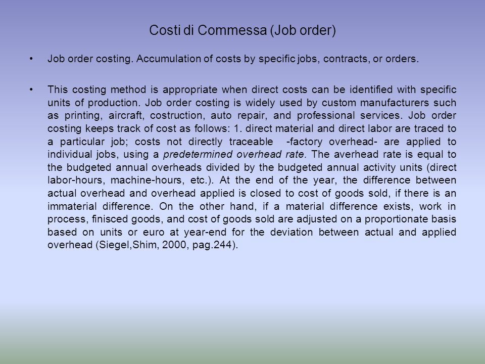 Costi di Commessa (Job order)