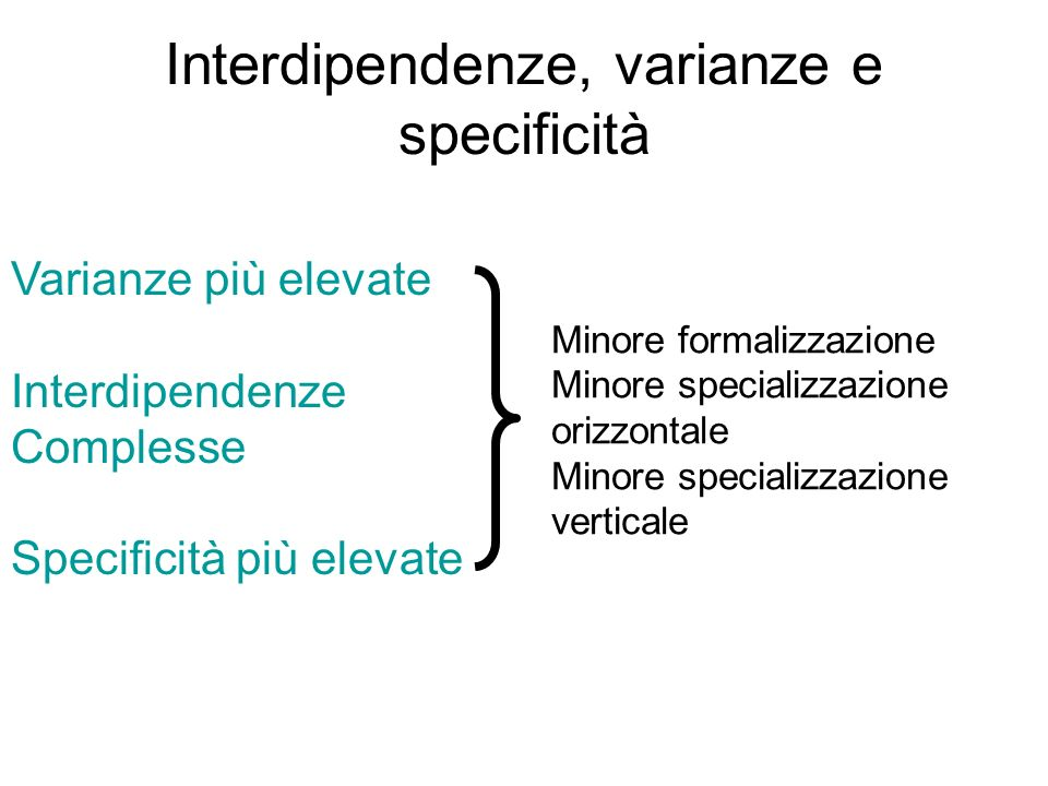 Interdipendenze, varianze e specificità