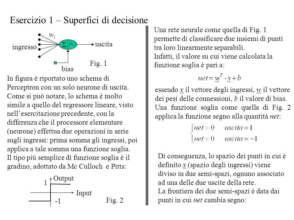 Esercizio 1 – Superfici di decisione