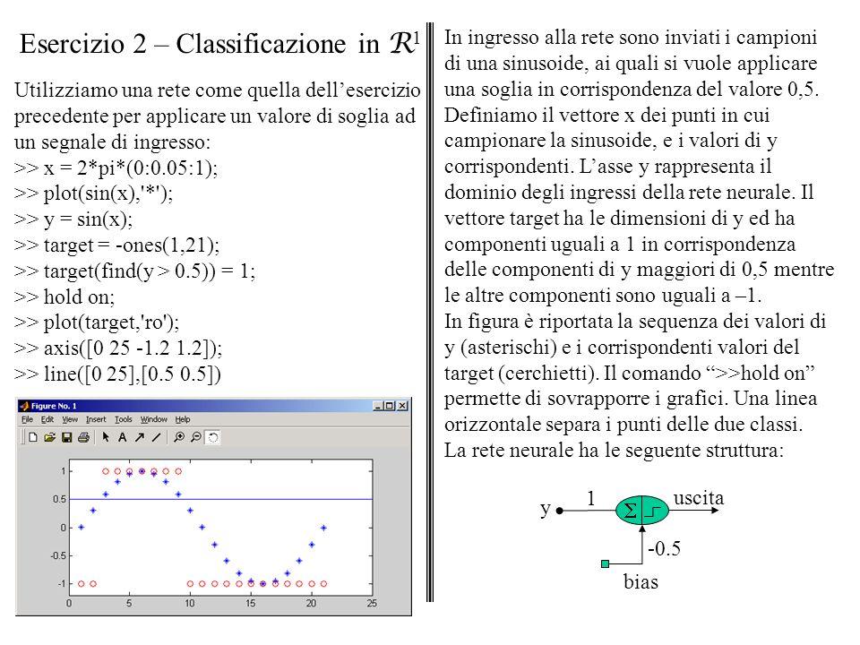 Esercizio 2 – Classificazione in R1