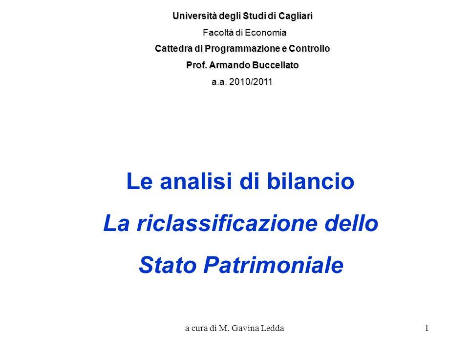 Le analisi di bilancio La riclassificazione dello Stato Patrimoniale