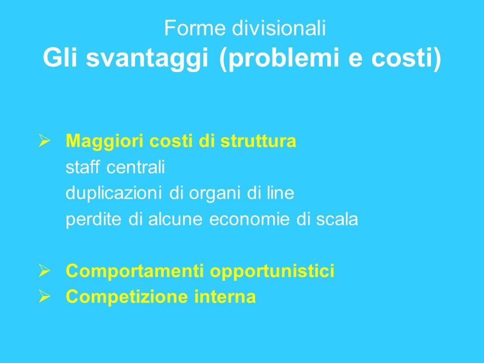 Forme divisionali Gli svantaggi (problemi e costi)