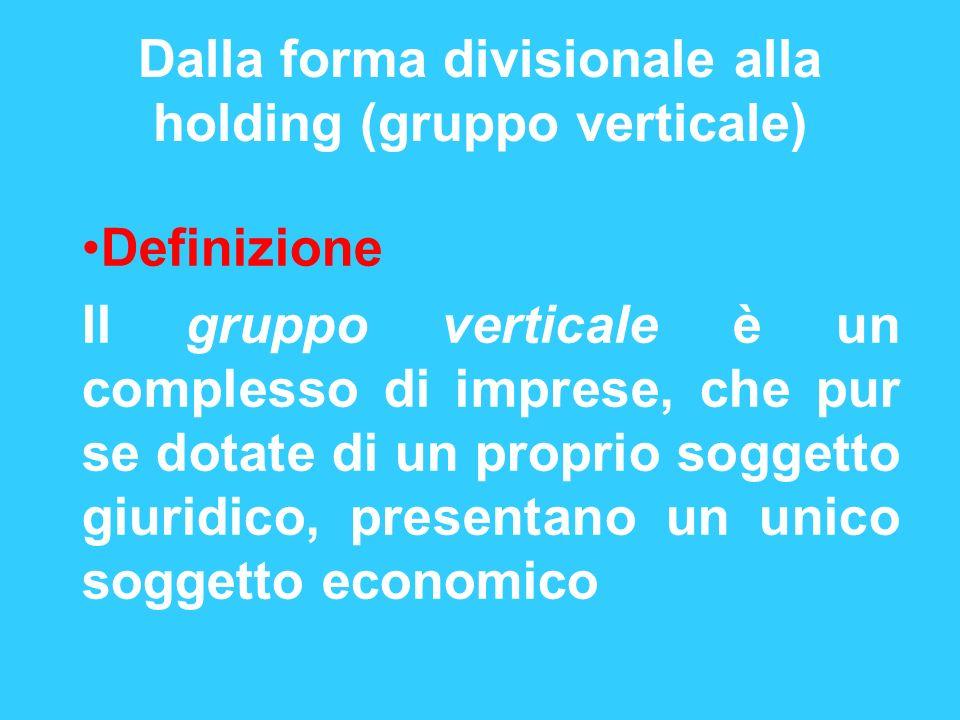 Dalla forma divisionale alla holding (gruppo verticale)