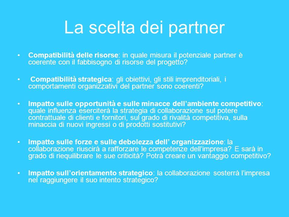 La scelta dei partner Compatibilità delle risorse: in quale misura il potenziale partner è coerente con il fabbisogno di risorse del progetto