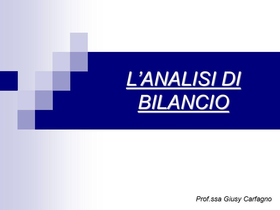 L'ANALISI DI BILANCIO Prof.ssa Giusy Carfagno