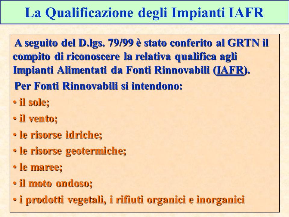 La Qualificazione degli Impianti IAFR