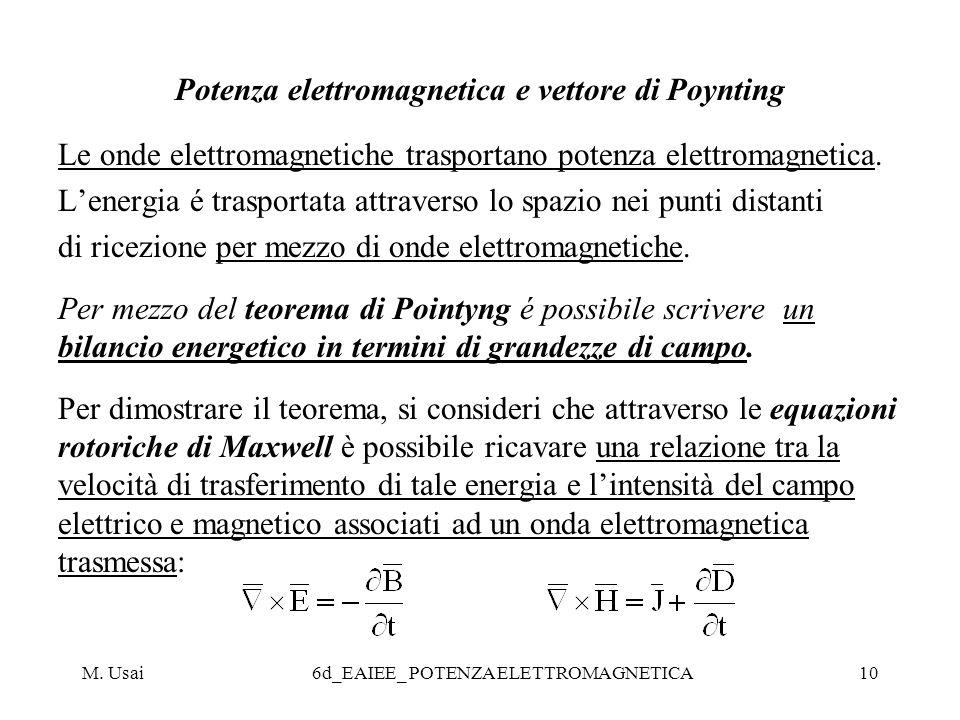 Potenza elettromagnetica e vettore di Poynting