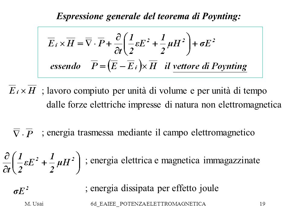Espressione generale del teorema di Poynting: