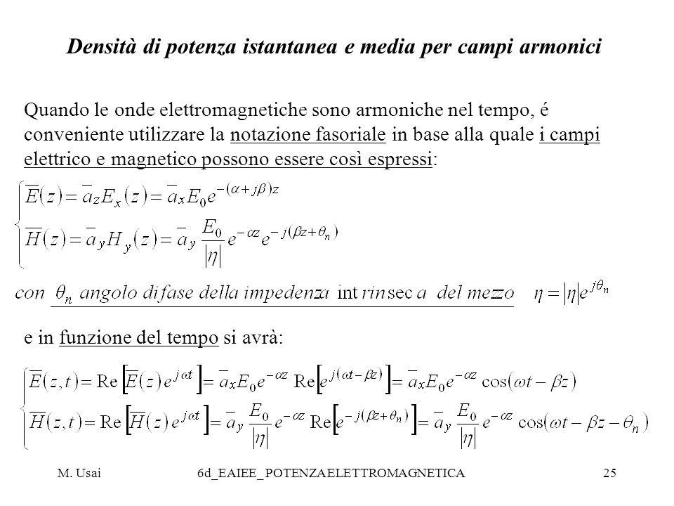 Densità di potenza istantanea e media per campi armonici