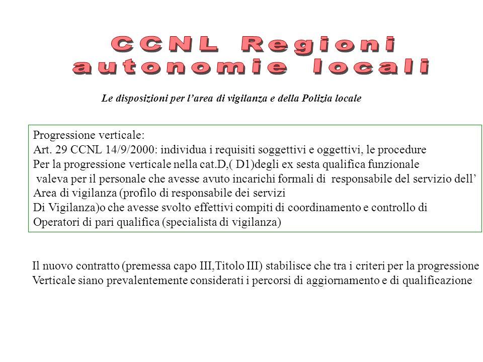 CCNL Regioni autonomie locali Progressione verticale: