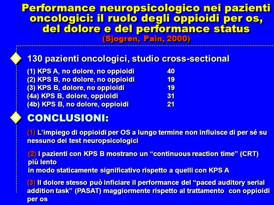 del dolore e del performance status