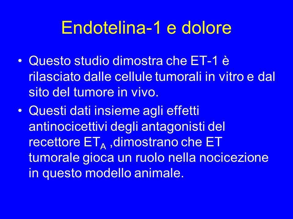 Endotelina-1 e dolore Questo studio dimostra che ET-1 è rilasciato dalle cellule tumorali in vitro e dal sito del tumore in vivo.