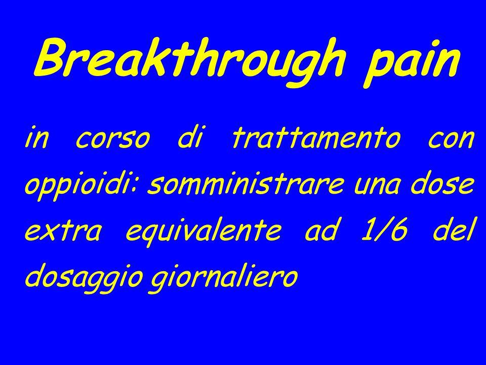 Breakthrough pain in corso di trattamento con oppioidi: somministrare una dose extra equivalente ad 1/6 del dosaggio giornaliero.