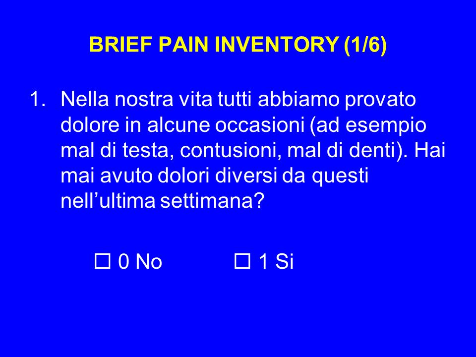 BRIEF PAIN INVENTORY (1/6)