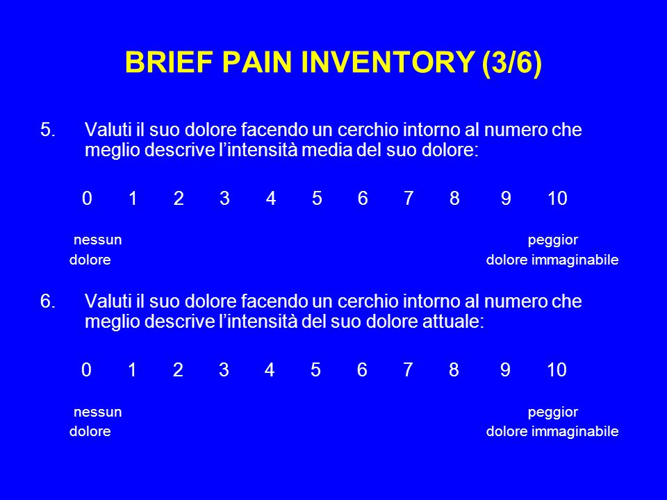 BRIEF PAIN INVENTORY (3/6)