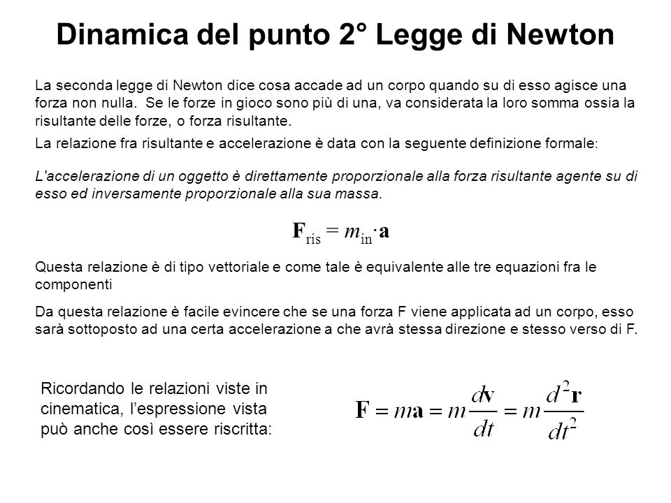 Dinamica del punto 2° Legge di Newton