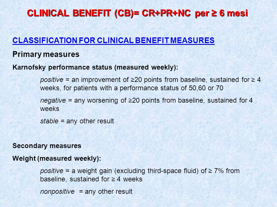 CLINICAL BENEFIT (CB)= CR+PR+NC per ≥ 6 mesi