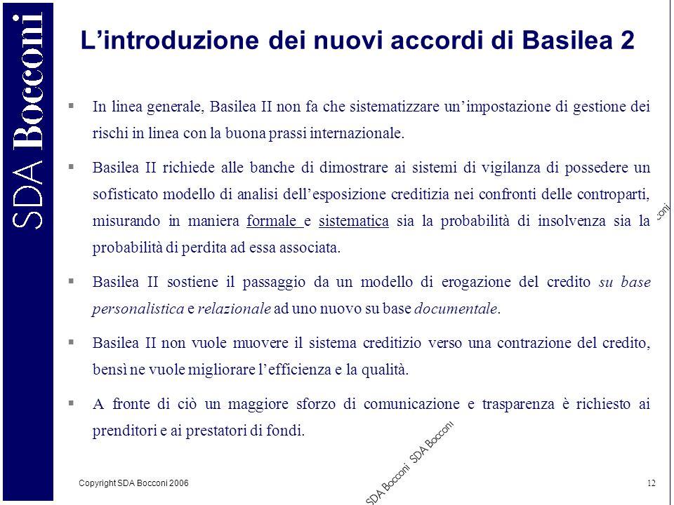 L'introduzione dei nuovi accordi di Basilea 2