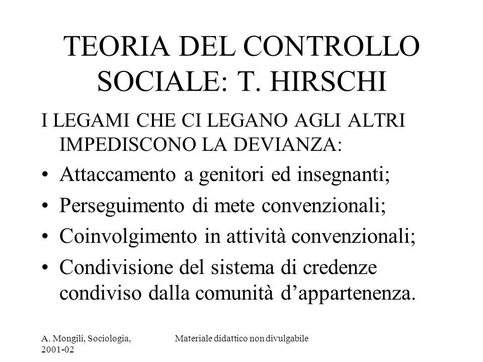 TEORIA DEL CONTROLLO SOCIALE: T. HIRSCHI