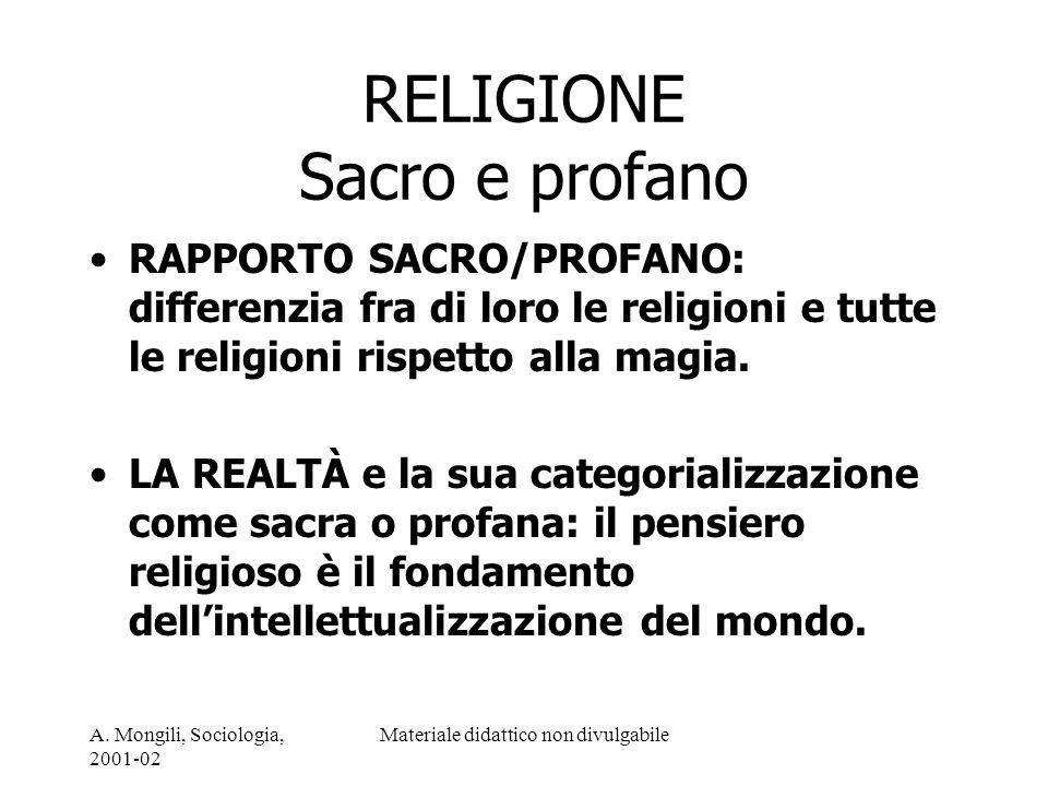 RELIGIONE Sacro e profano