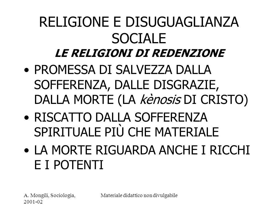RELIGIONE E DISUGUAGLIANZA SOCIALE LE RELIGIONI DI REDENZIONE