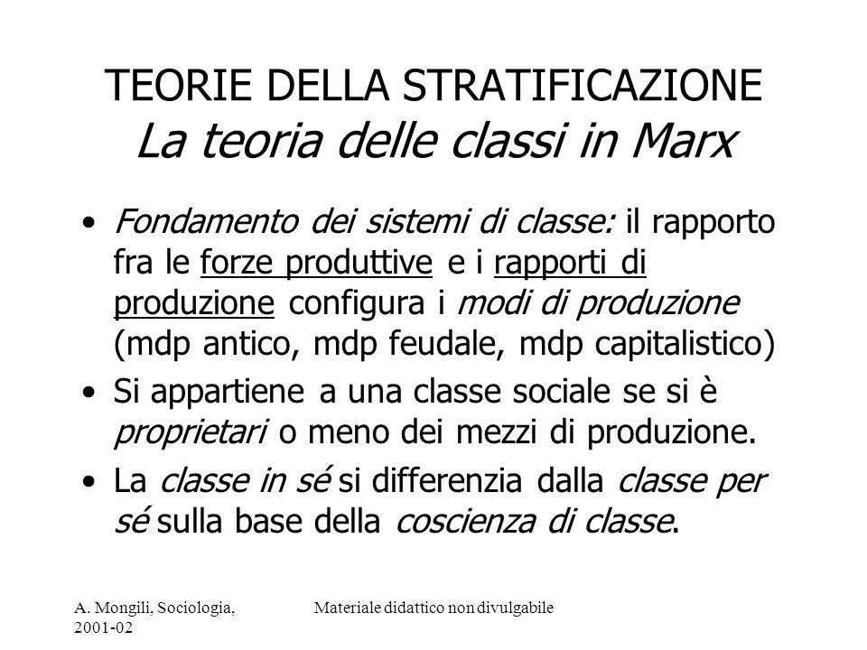 TEORIE DELLA STRATIFICAZIONE La teoria delle classi in Marx