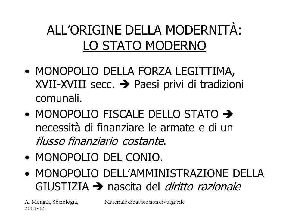 ALL'ORIGINE DELLA MODERNITÀ: LO STATO MODERNO
