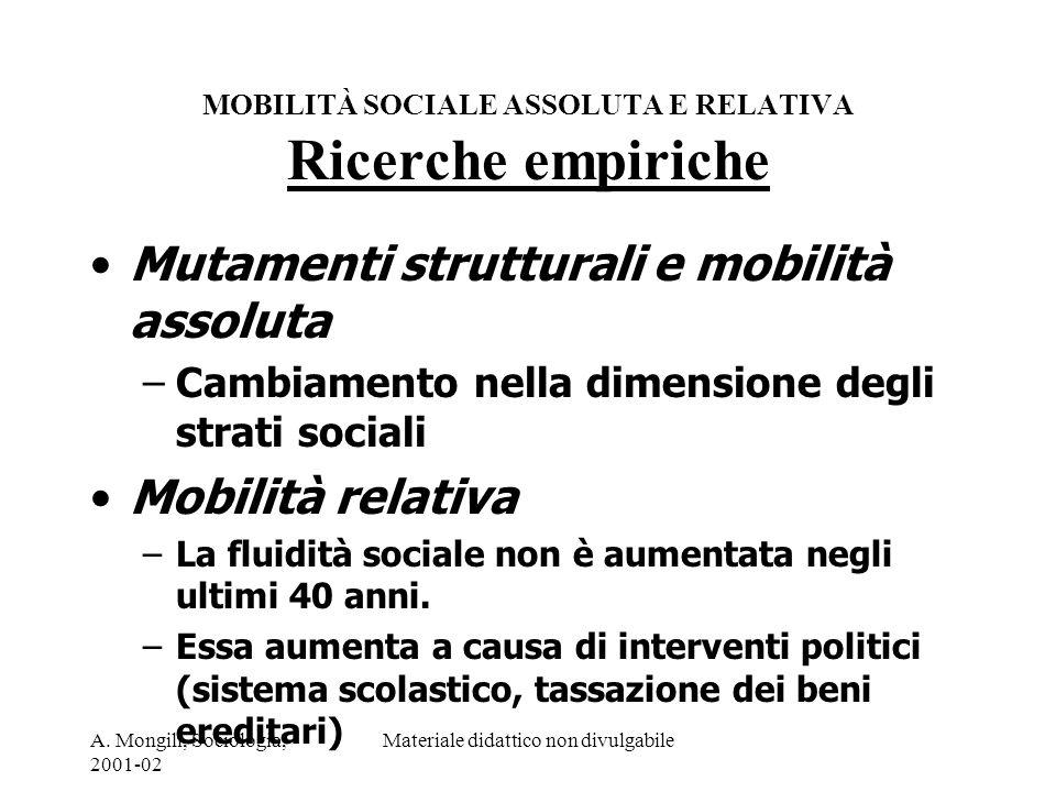 MOBILITÀ SOCIALE ASSOLUTA E RELATIVA Ricerche empiriche