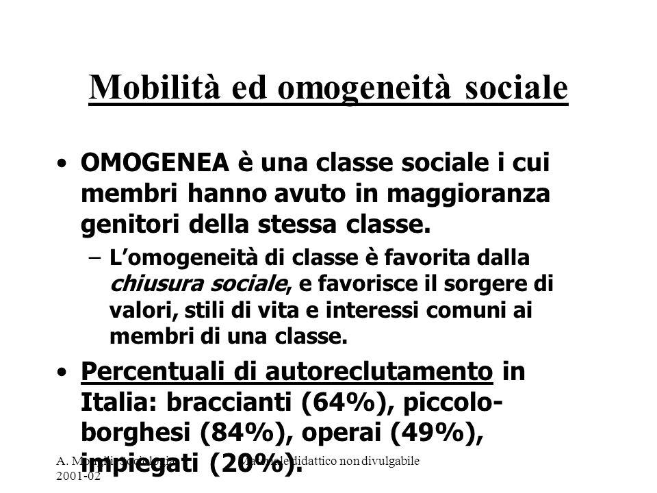 Mobilità ed omogeneità sociale