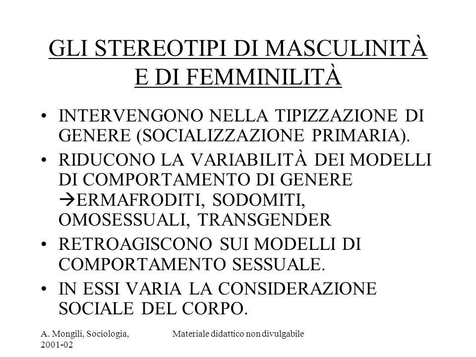 GLI STEREOTIPI DI MASCULINITÀ E DI FEMMINILITÀ