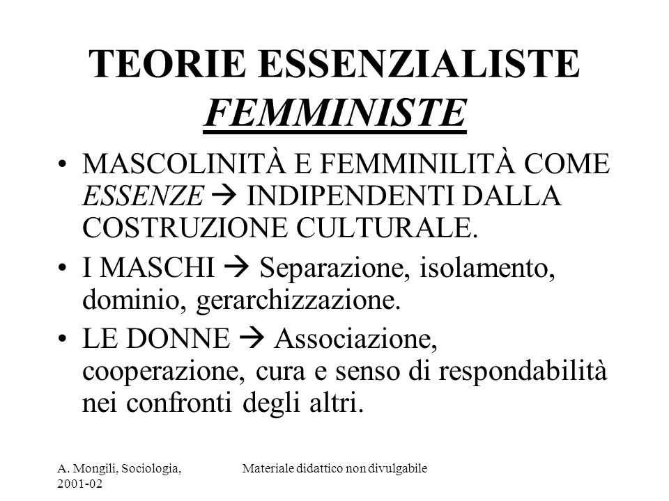 TEORIE ESSENZIALISTE FEMMINISTE