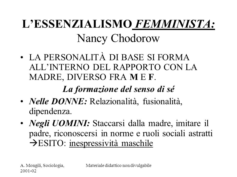L'ESSENZIALISMO FEMMINISTA: Nancy Chodorow