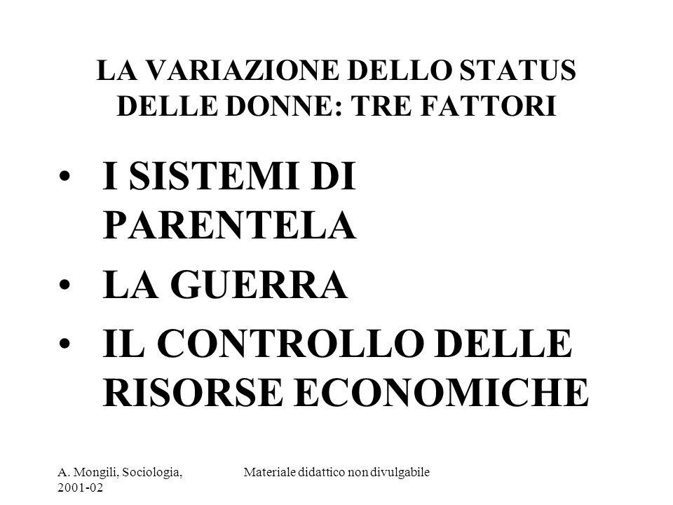 LA VARIAZIONE DELLO STATUS DELLE DONNE: TRE FATTORI