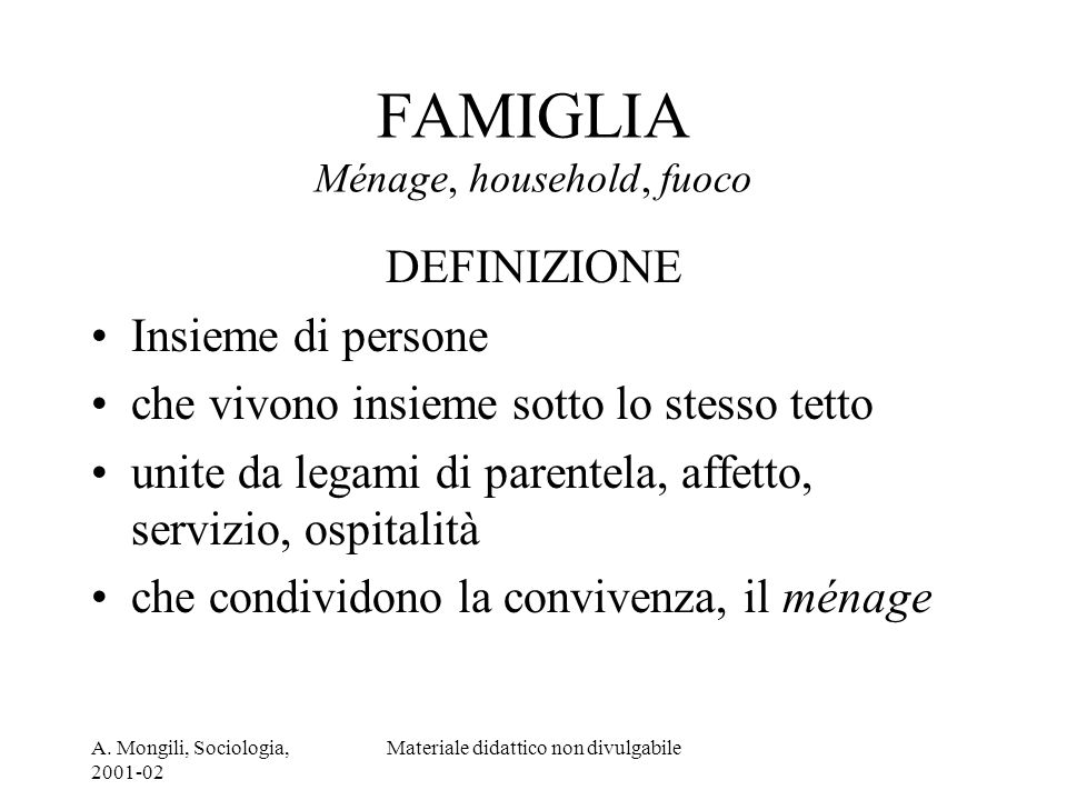 FAMIGLIA Ménage, household, fuoco