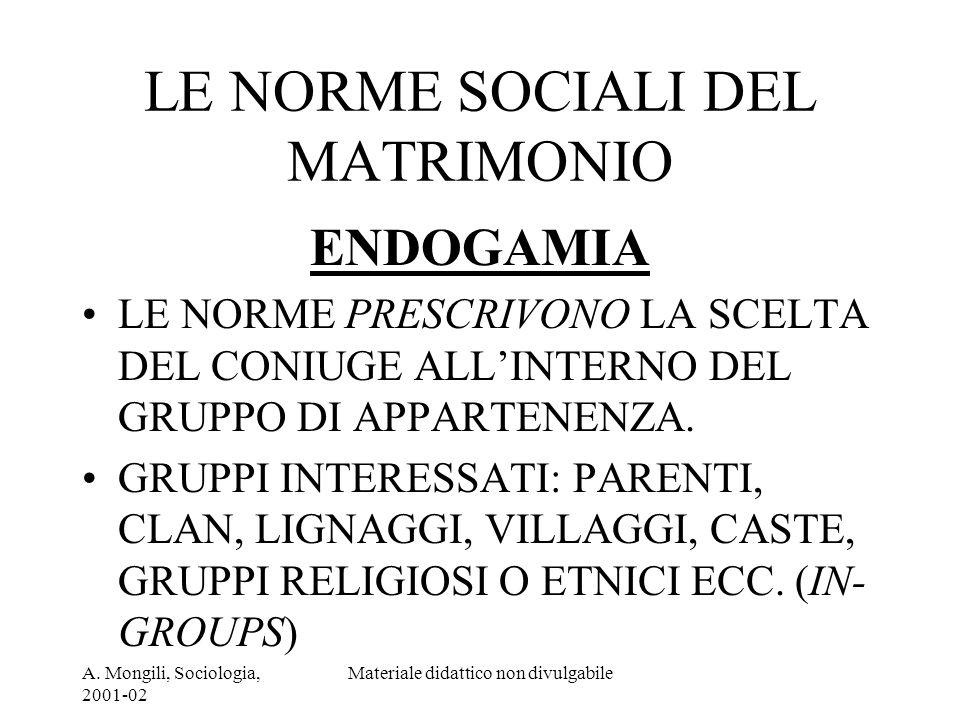 LE NORME SOCIALI DEL MATRIMONIO