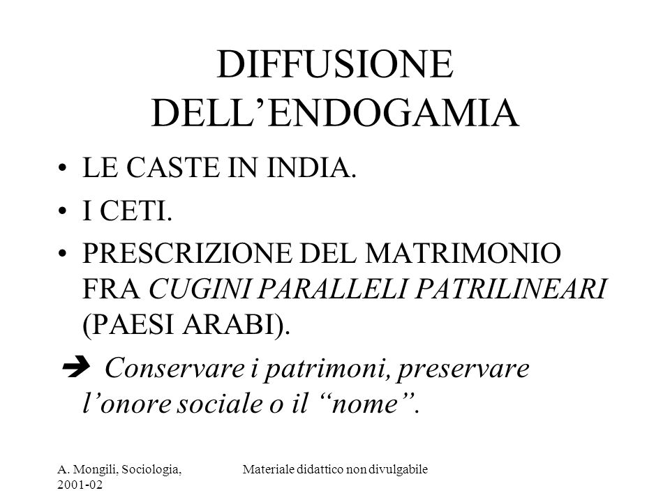 DIFFUSIONE DELL'ENDOGAMIA