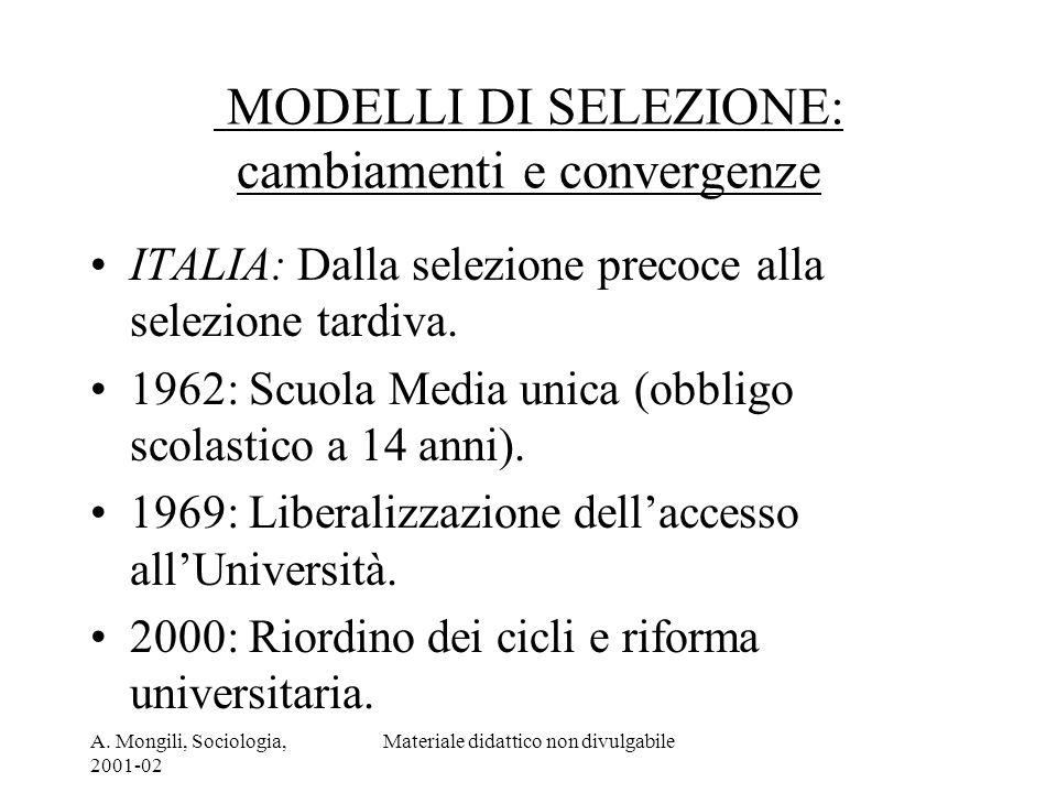 MODELLI DI SELEZIONE: cambiamenti e convergenze