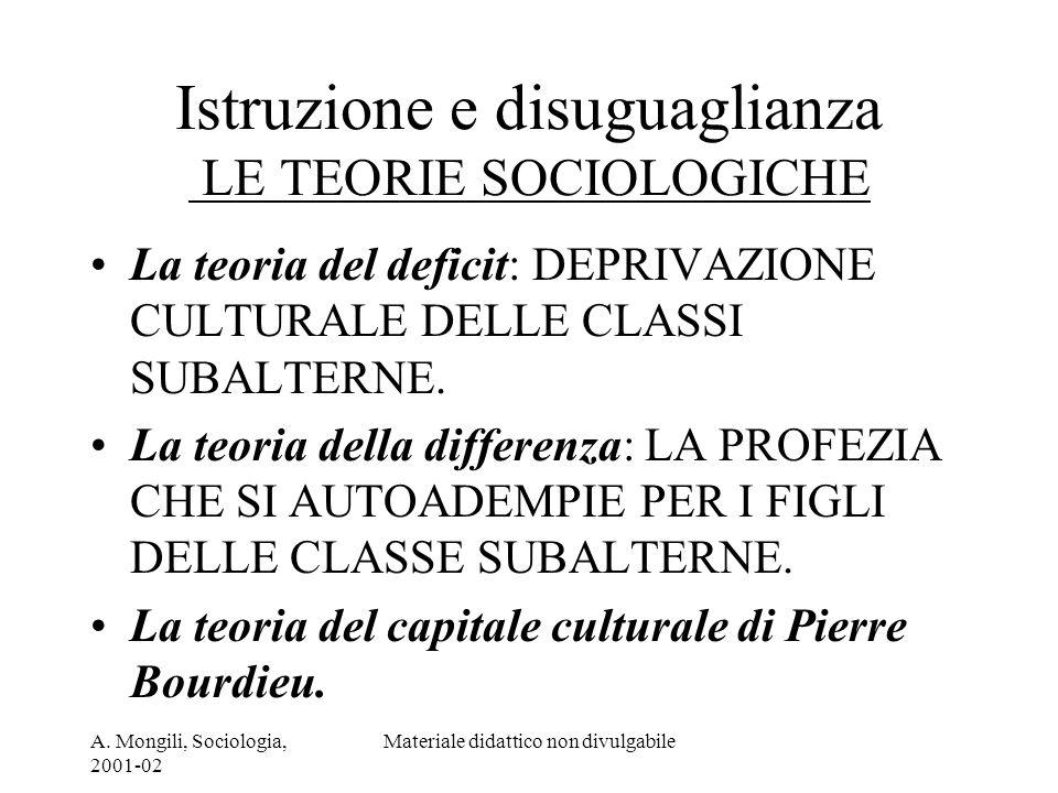 Istruzione e disuguaglianza LE TEORIE SOCIOLOGICHE